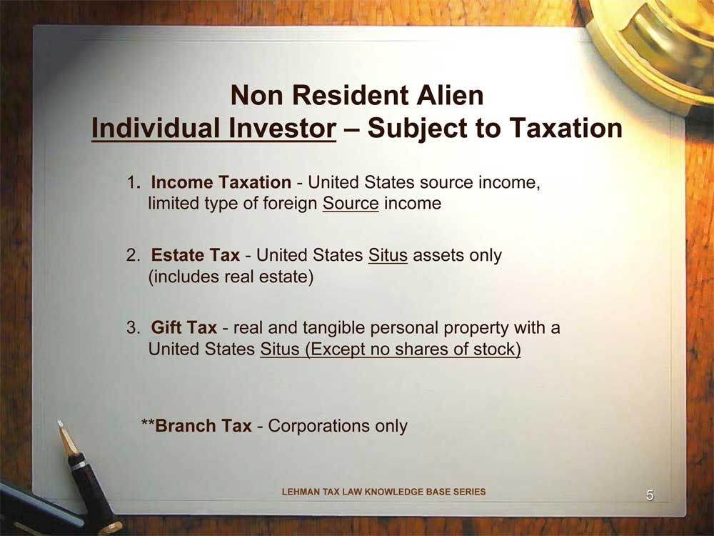 Non resident alien investor subject to U.S. taxation