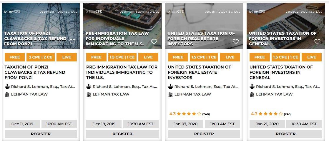 Upcoming Tax Webinars with Richard S. Lehman